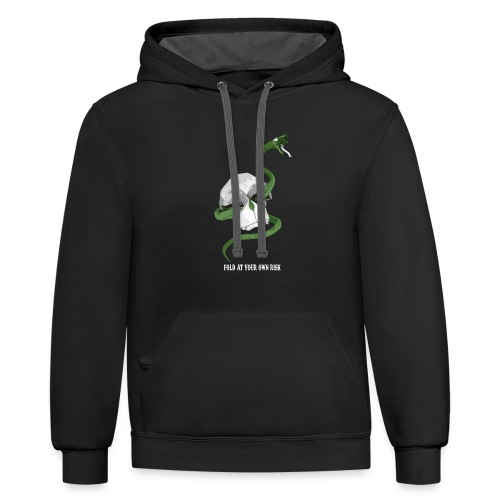 Origami Snake and skull - Unisex Contrast Hoodie