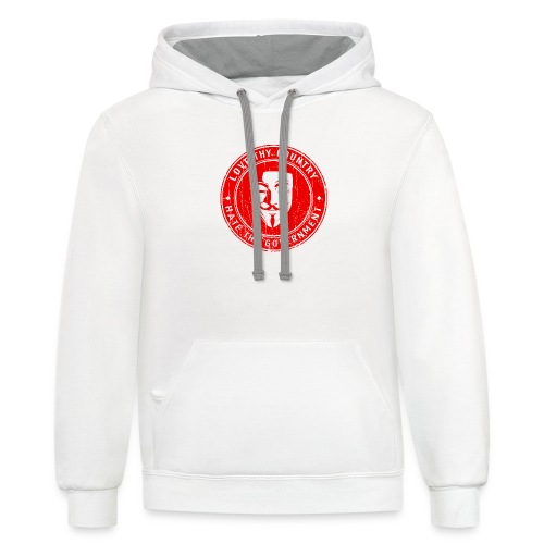 red love thy country - Contrast Hoodie