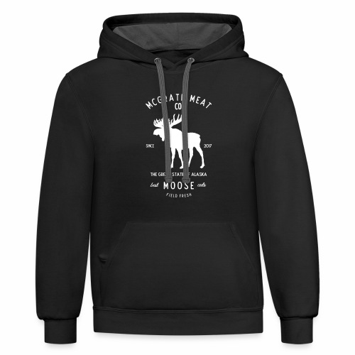 McGrath Meat Company White Stamp Logo - Contrast Hoodie