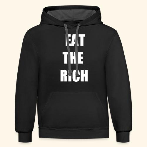 eat the rich wht - Unisex Contrast Hoodie