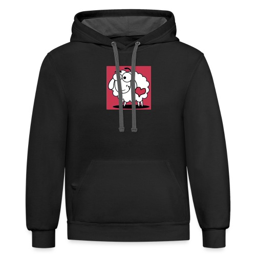 SimAlley Red Sheepy Logo - Unisex Contrast Hoodie