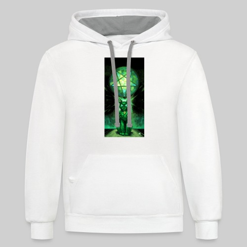 Green Satanic Cat and Pentagram Stained Glass - Contrast Hoodie