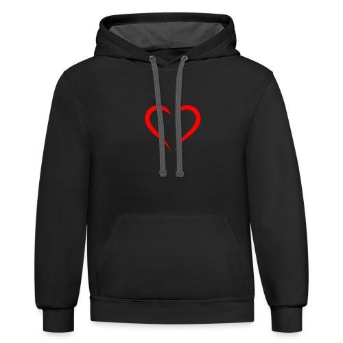 open heart - Contrast Hoodie