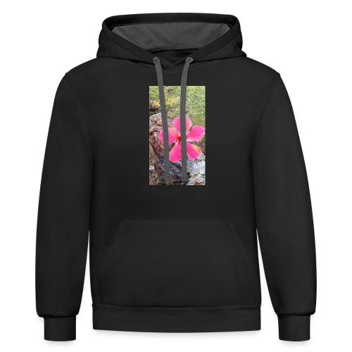Pink Beach Flower - Unisex Contrast Hoodie
