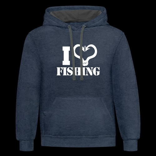 02 I heart fishing copy - Contrast Hoodie
