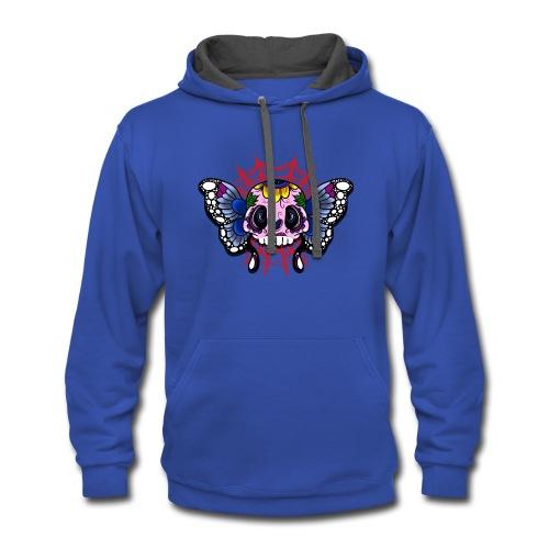 skull butterfly - Contrast Hoodie