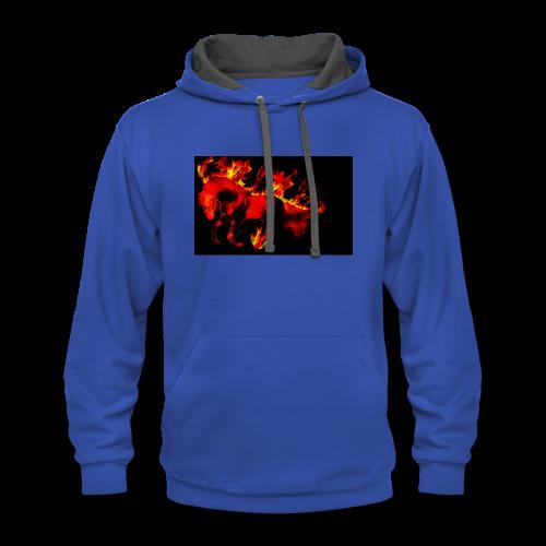 flaming horse - Contrast Hoodie