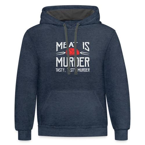 meat is murder vegan t shirt - Contrast Hoodie
