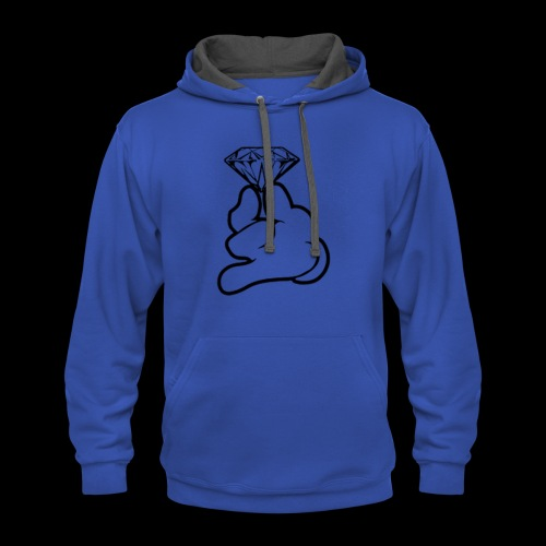 the hand with the diamond - Contrast Hoodie