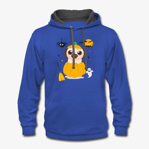 I love Halloween Pug Dog T-Shirt - Contrast Hoodie