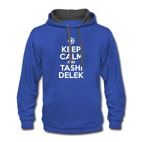 Keep Calm and Tashi Delek Tibet Dharma Wheel - Contrast Hoodie