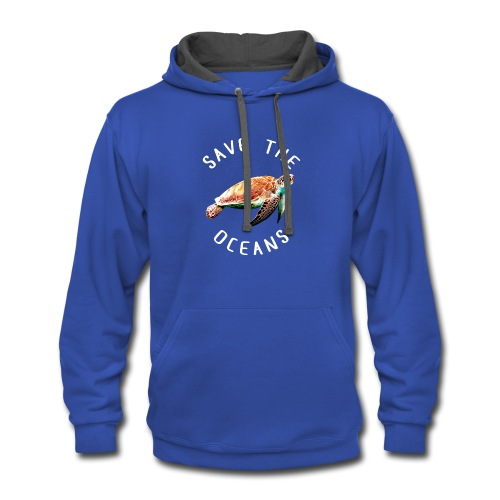 Save the oceans | Save the sea turtles - Contrast Hoodie