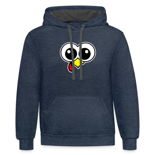 Funny Turkey Face - Thanksgiving Day Gobble Wobble - Contrast Hoodie
