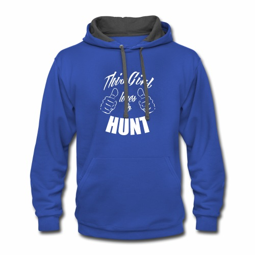 04 this girl loves to hunt - Contrast Hoodie