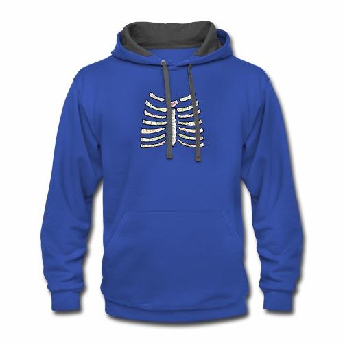 dia de muertos ribcage2 - Contrast Hoodie