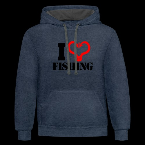 02 I heart fishing BLACK - Contrast Hoodie