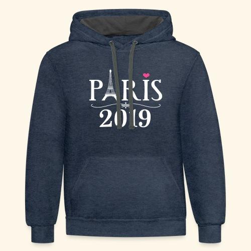 Paris France 2019 Eiffel Tower - Contrast Hoodie