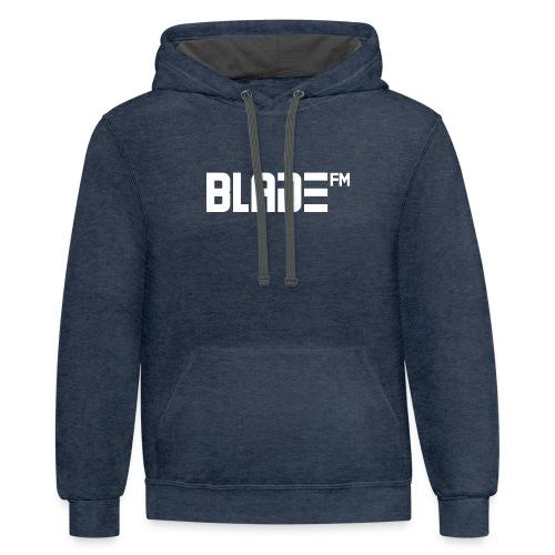 White BladeFM Logo - Contrast Hoodie