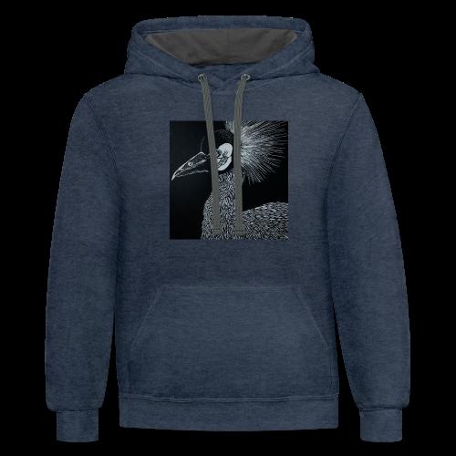 Black Crowned Crane - Contrast Hoodie