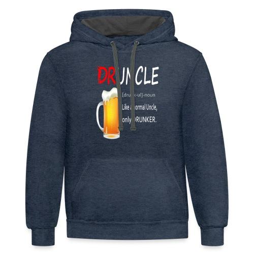 Druncle Beer T shirt Gift For Men - Contrast Hoodie