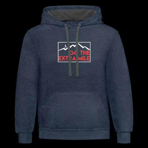 Go The Extra Mile Man Climbing Mountain Design - Contrast Hoodie