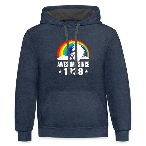 Rainbow Unicorn T-Shirt Awesome Since 1938 80th Bi - Contrast Hoodie