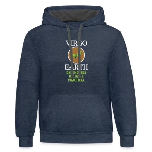 Elemental astrology tshirt Virgo Earth Symbol Gift - Contrast Hoodie