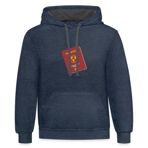 passport travel icon by Travel4hlidays - Contrast Hoodie
