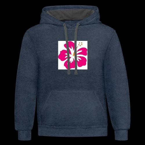 pink hibiscus hoodie - Contrast Hoodie