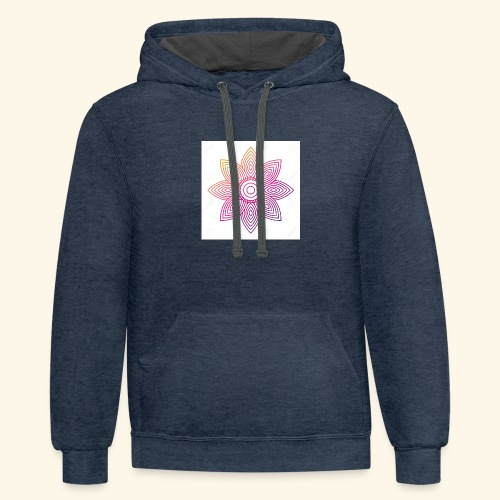 93874310 floral mandala round ornament for adult c - Contrast Hoodie