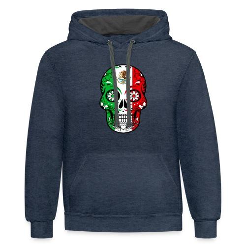 Mexican Flag Calavera T Shirt - Contrast Hoodie