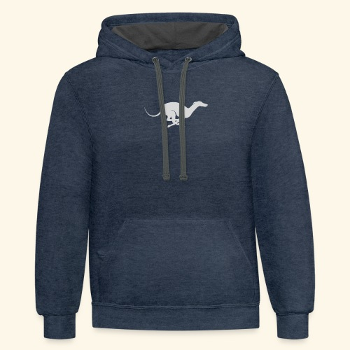 Light Grey Running Greyhound - Contrast Hoodie