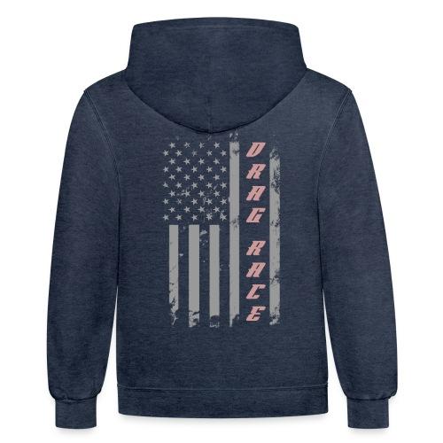 American Drag Racer Flag - Contrast Hoodie