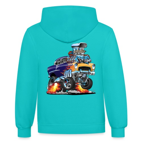 Classic Fifties Hot Rod Muscle Car Cartoon - Contrast Hoodie
