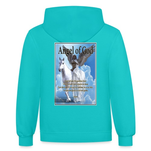 Angel of God, My guardian Dear (version with sky) - Contrast Hoodie