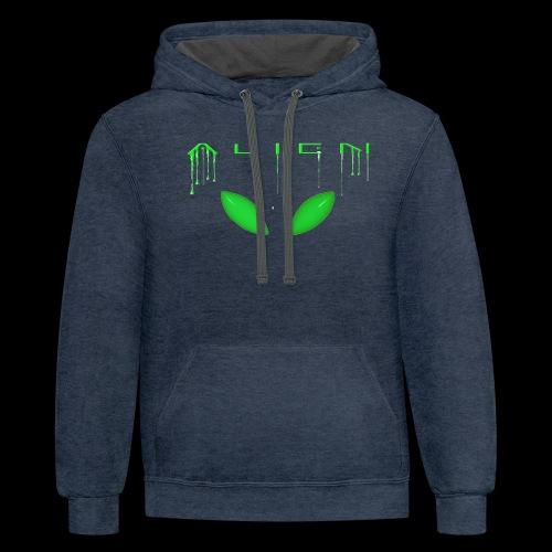 Alien Dribble with ET eyes - Green - Unisex Contrast Hoodie