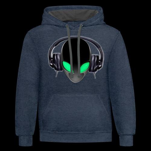 Alien Music Lover DJ (Simplified Fit All Design) - Unisex Contrast Hoodie