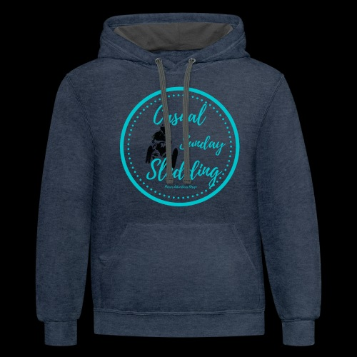 Casual Sunday Sledding -Teal - Unisex Contrast Hoodie