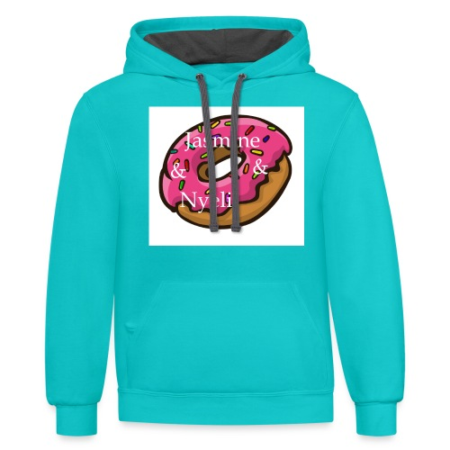 A cute donut W/ our channel name - Contrast Hoodie