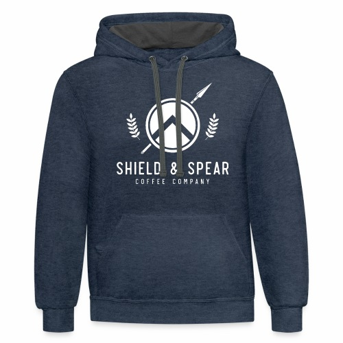 Shield and Spear White Logo - Contrast Hoodie