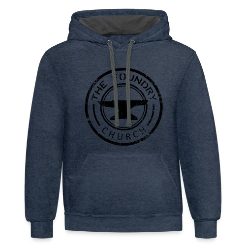 Foundry Church Logo Distressed black 12 in - Contrast Hoodie