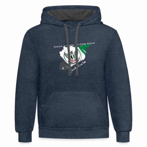 free syria white font - Unisex Contrast Hoodie