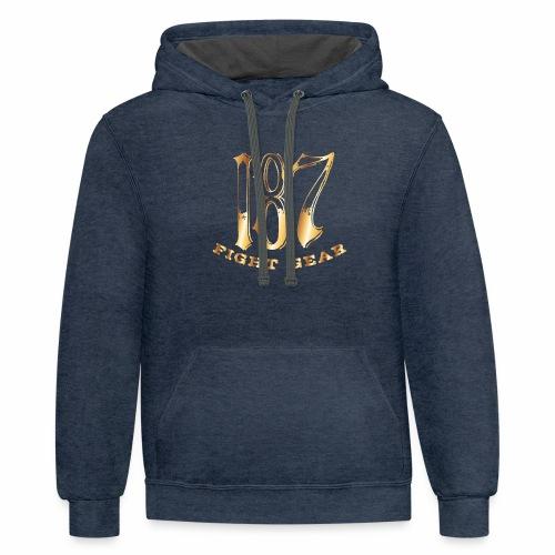187 Fight Gear Gold Logo Street Wear - Unisex Contrast Hoodie