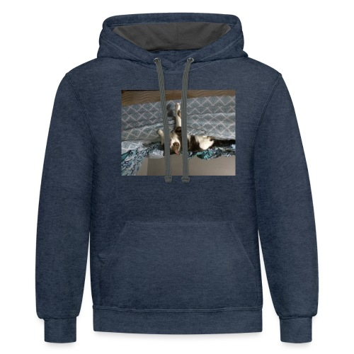 Lol da upside down fat cat - Contrast Hoodie