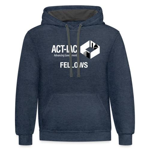 BW WITH TEXT Fellows actiac logo cmyk - Unisex Contrast Hoodie