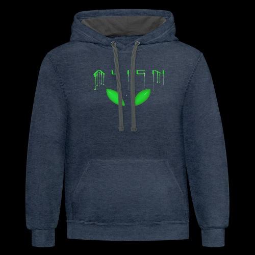 Alien Dribble with ET eyes - Green - Contrast Hoodie