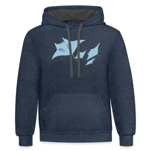 manta ray sting scuba diving diver dive - Contrast Hoodie