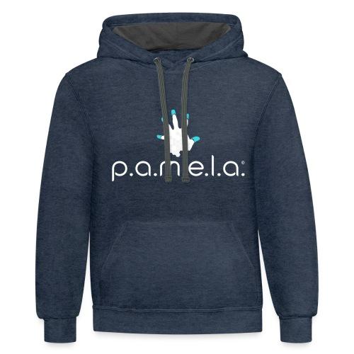 P.A.M.E.L.A. Logo White - Unisex Contrast Hoodie