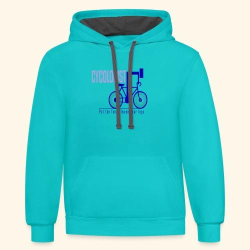 Cycologist T Shirt for Men, Women, Kids, Babies - Unisex Contrast Hoodie