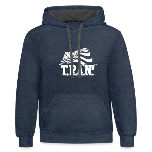 New Tran Logo Transparent inverted png - Contrast Hoodie